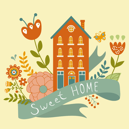 Home sweet home concept illustartion with house, ribbon and flowers. Vector illustration Vector
