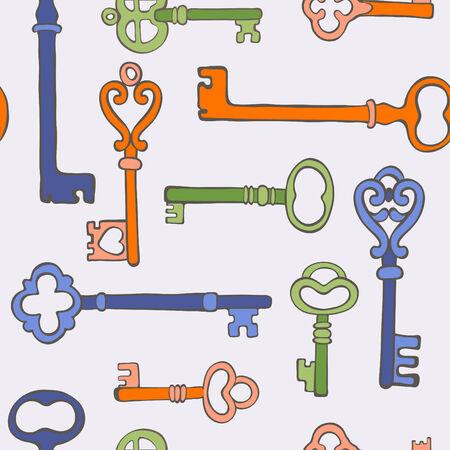 passkey: Colorful retro keys stylish background. vector illustration Illustration