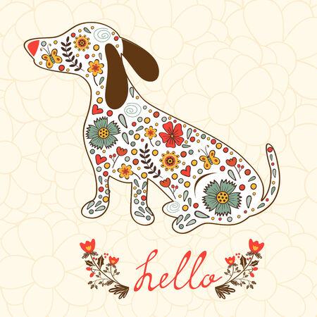 badger dog: Concept hello card with floral badger dog. Vector illustration