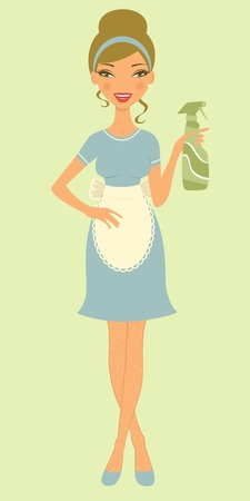 vectro: An illustration of a beautiful woman cleaning with detergent spray. Vectro illustration