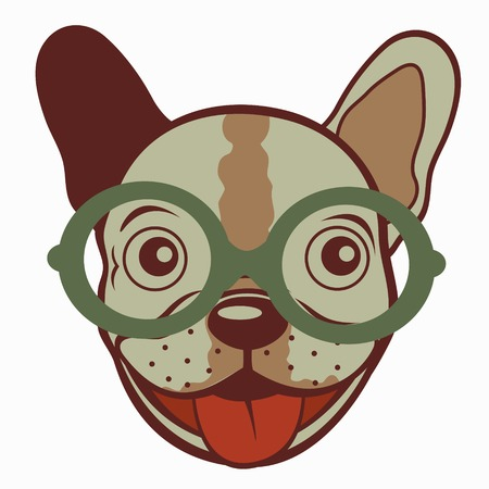 obedient: Illustration of French bulldog in glasses. Vector illustration Illustration