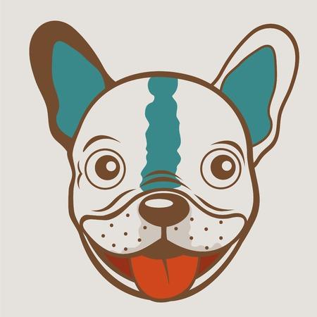french bulldog: French bulldog funny face. vector illustartion