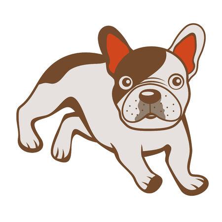 vectro: Colorful illustration of French bulldog in vectro format