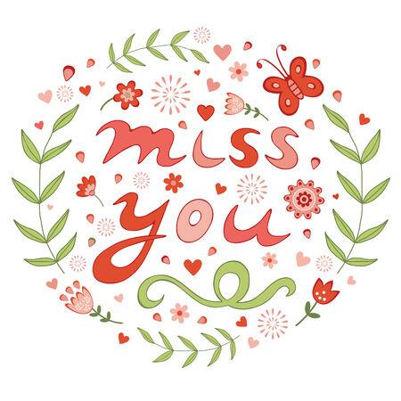 design design elemnt: Elegant hand drawn miss you floral card. vector illustration Illustration