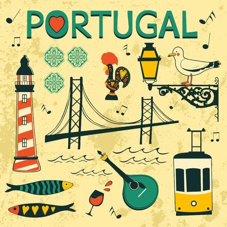 cultura: Portugal Colección de los iconos típicos. ilustración vectorial