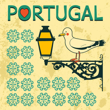 Concept card with tipical portuguese lantern and seagull. Vector illustration Vector