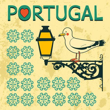 sardine: Konzept-Karte mit typisch portugiesischen Laterne und M�we. Vektor-Illustration