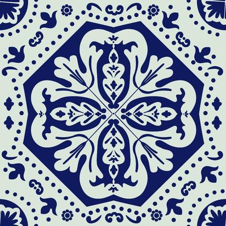 A  colorful Portuguese azulejo tile. vector illustration