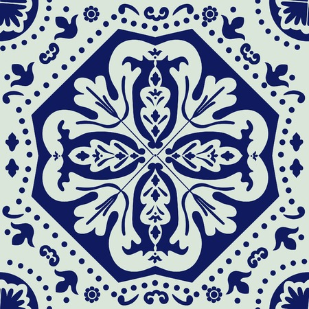 tile wall: A  colorful Portuguese azulejo tile. vector illustration