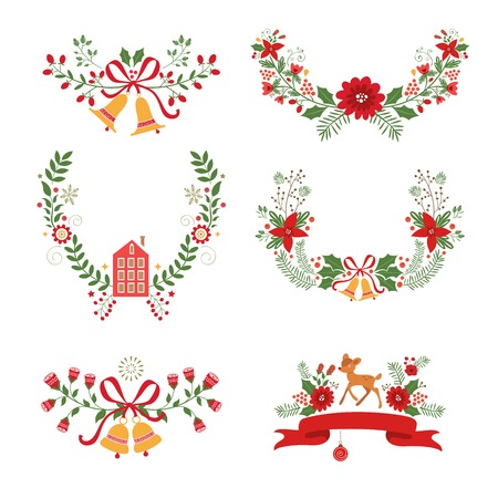 Colorful Christmas banners and laurels with flowers, birds, deers, hollies and leaves. Ideal for invitations and Christmas cards