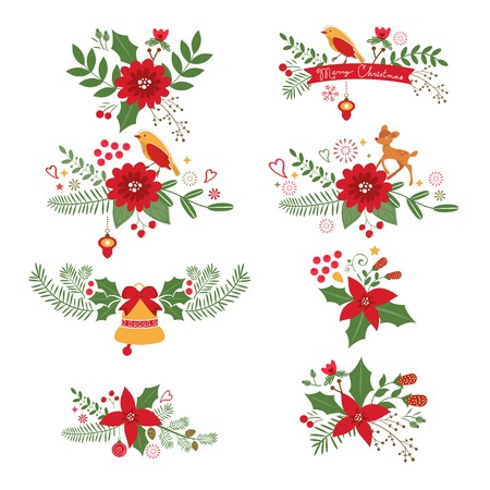 hollies: Colorful Christmas banners and laurels with flowers, birds, deers, hollies and leaves. Ideal for invitations and Christmas cards
