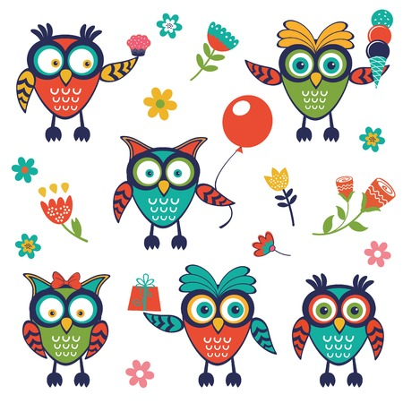 A stylish collection of cute, funny owls. Vector illustration Vector