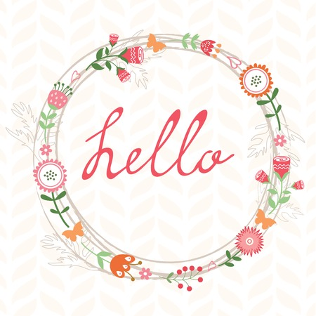 romatic: Floral romatic concept hello card with wreath. Vector illustration