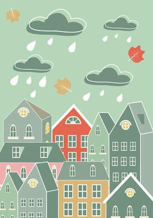 Cute illustration of rainy city day in vector format Vector
