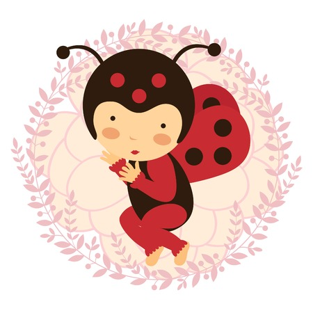 A beautiful ladybug baby card. Vector illustration Vector