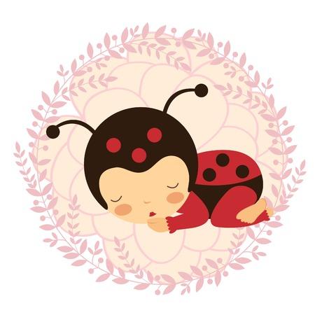 Een mooie lieveheersbeestje babykaart. Vector illustratie