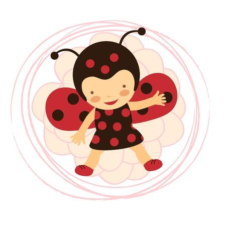 A beautiful ladybug baby card. Vector illustration Illustration
