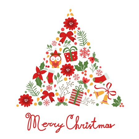 Colorful Merry Christmas tree shape with holiday elements . Vector illustration