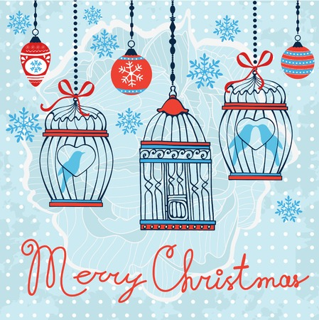 christmas gift tag: Elegant Merry Christmas card with baubles and cages. vector illustration Illustration