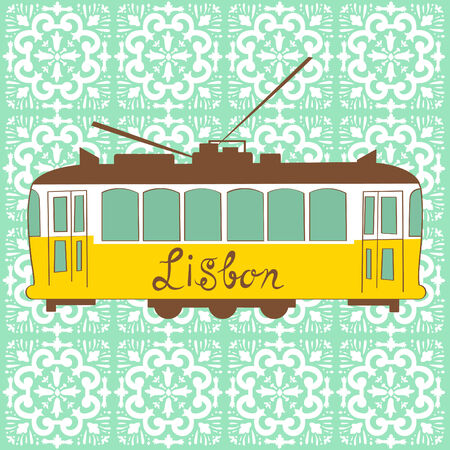 Colorful illustration of traditional Lisbon tram in vector Vector