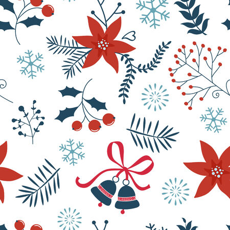 Colorful Christmas background with hollies, flowers and bells Vector