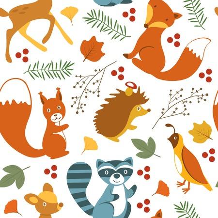 Cute woodland animals seamless pattern. vector illustration