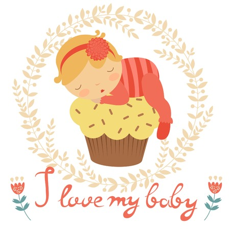 baby girl: Cute baby card with baby girl sleeping on a cupcake Illustration