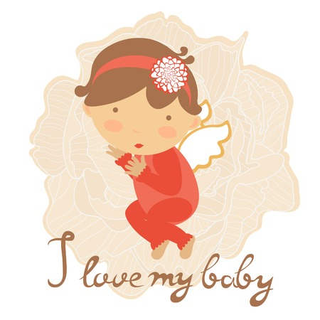 baby girl: Cute baby card with little baby girl. Vector illustration