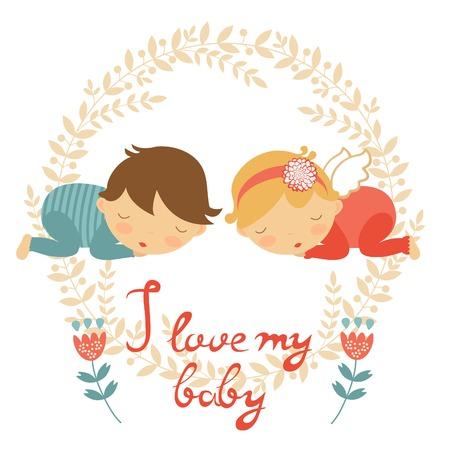 gemelos niÑo y niÑa: Tarjeta del bebé lindo con dos bebés durmiendo. ilustración vectorial
