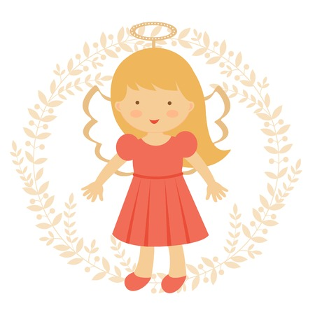 angeles bebe: Ángel ilustración colorida linda en formato vectorial