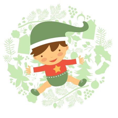 Cute baby illustration on floral Christmas background Vector