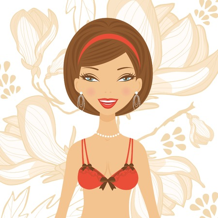 Illustration of beautiful girl in lingerie on a floral background in vector format