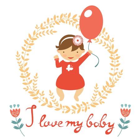 Cute baby girl with balloon. vector illustration Vector