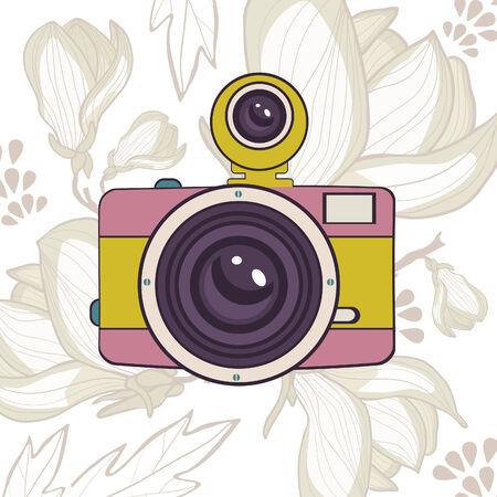 Elegant vintage camera on floral background. Vector illustration Vector