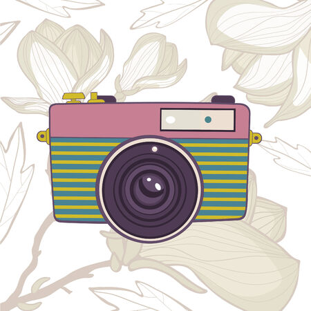 color digital camera: Elegant vintage camera on floral background. Vector illustration