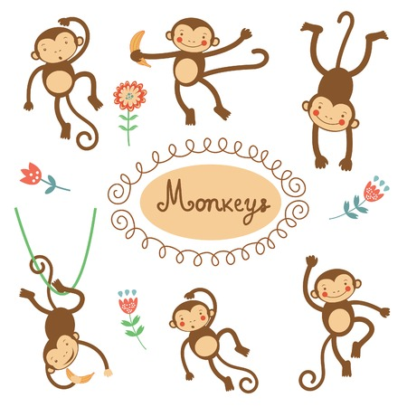 Cute funny monkeys  colorful collection. vector illustration Vector
