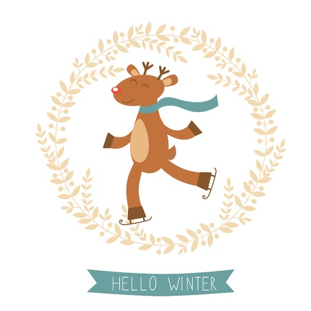 Hello winter card with cute deer girl ice skating. Vector illustration Vector