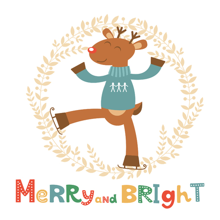 bright card: Merry and bright card with cute deer boy. Vector illustration