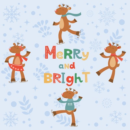 bright card: Merry and bright card with cute reindeers. Vector illustration