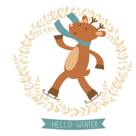 Hello winter card with cute deer boy ice skating. Vector illustration Vector