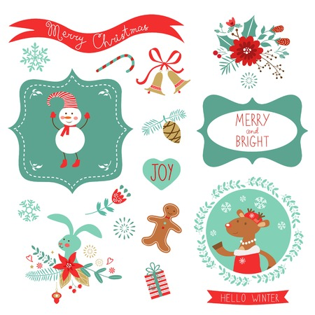 cute graphic: Christmas cute graphic elements collection. Vector illustration Illustration