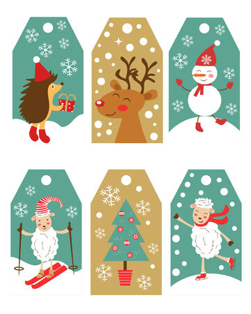 a cute colorful christmas gift tags vector illustration stock vector 34988648