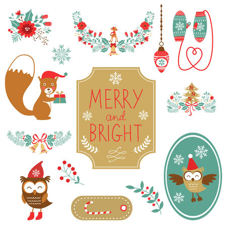 Cute collection of Christmas decorative elments. Vector illustration Vector