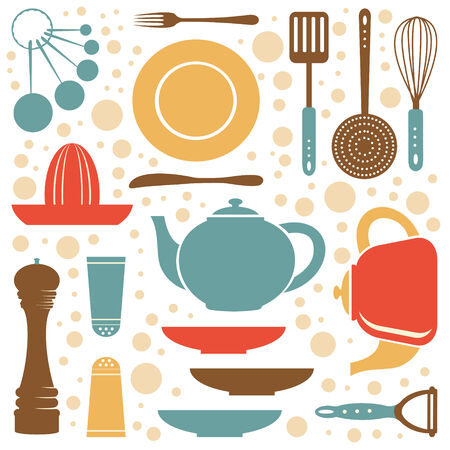 abstract mill: A kitchen collection retro style. Vector illustration