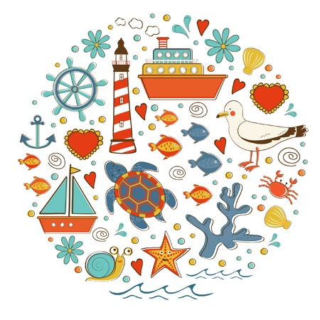 Cute colorful sea collection with various elements. Vector illustration Vector