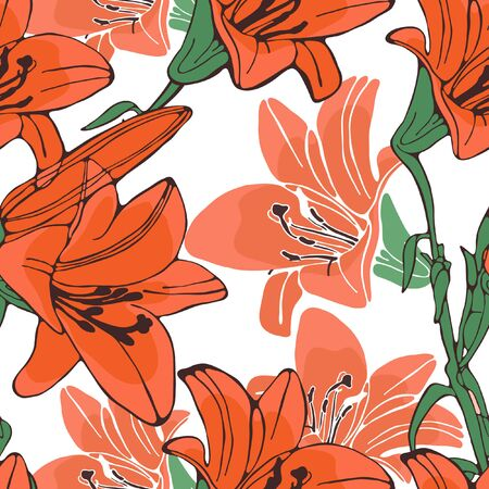 lilium: Elegant  lilly flowers pattern. vector illustration