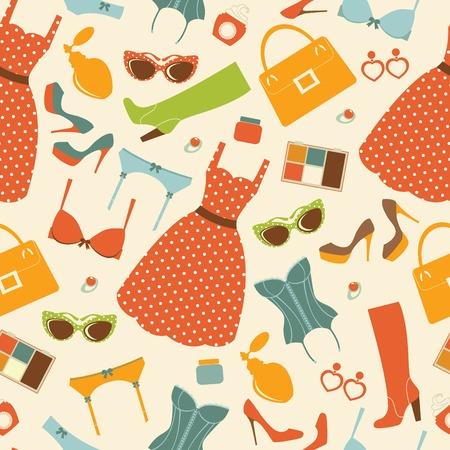 design design elemnt: Fashion elements  colorful seamless pattern. vector illustration