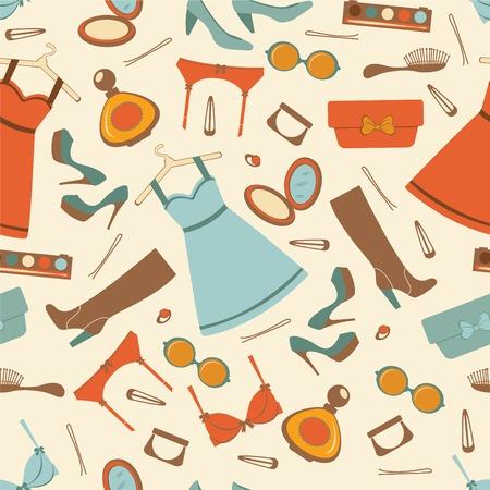 kleedkamer: Mode-elementen kleurrijke naadloze patroon. vector illustratie Stock Illustratie