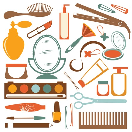 dressing room: Colorful stylish set of make up elements. Vector illustration