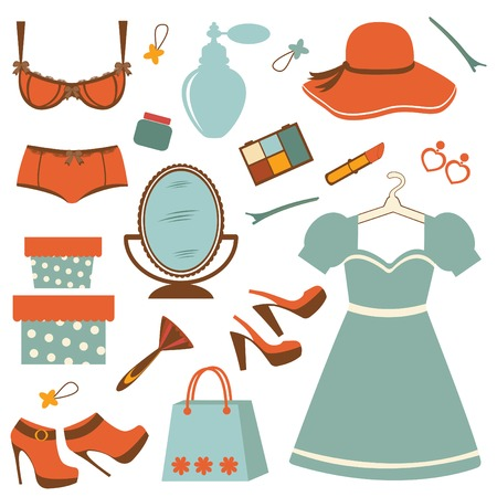 dressing room: Stylish fashion elements  colorful collection. vector illustration Illustration
